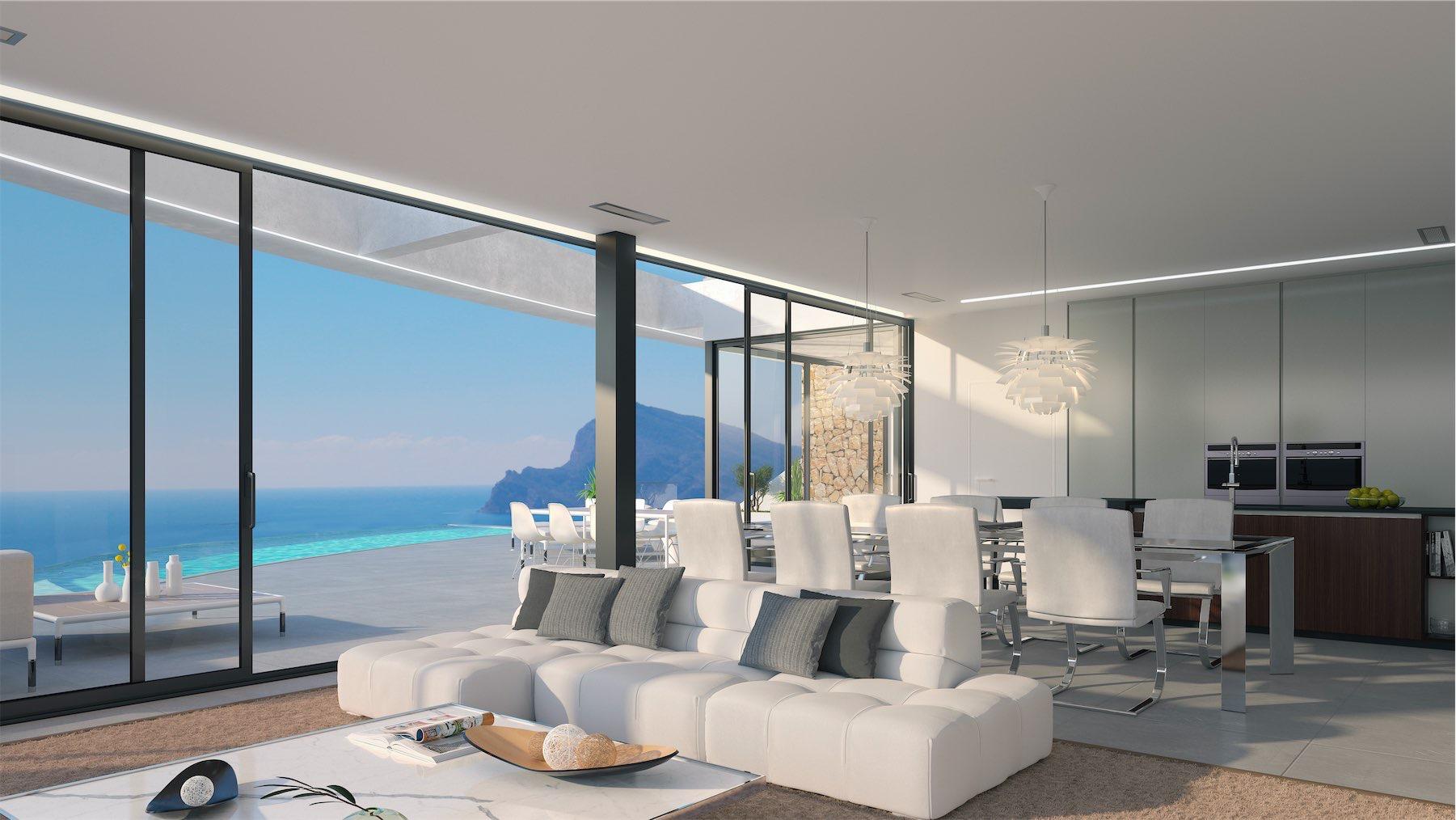 Ultra moderne design villa met schitterend zeezicht tussen Calpe en ...