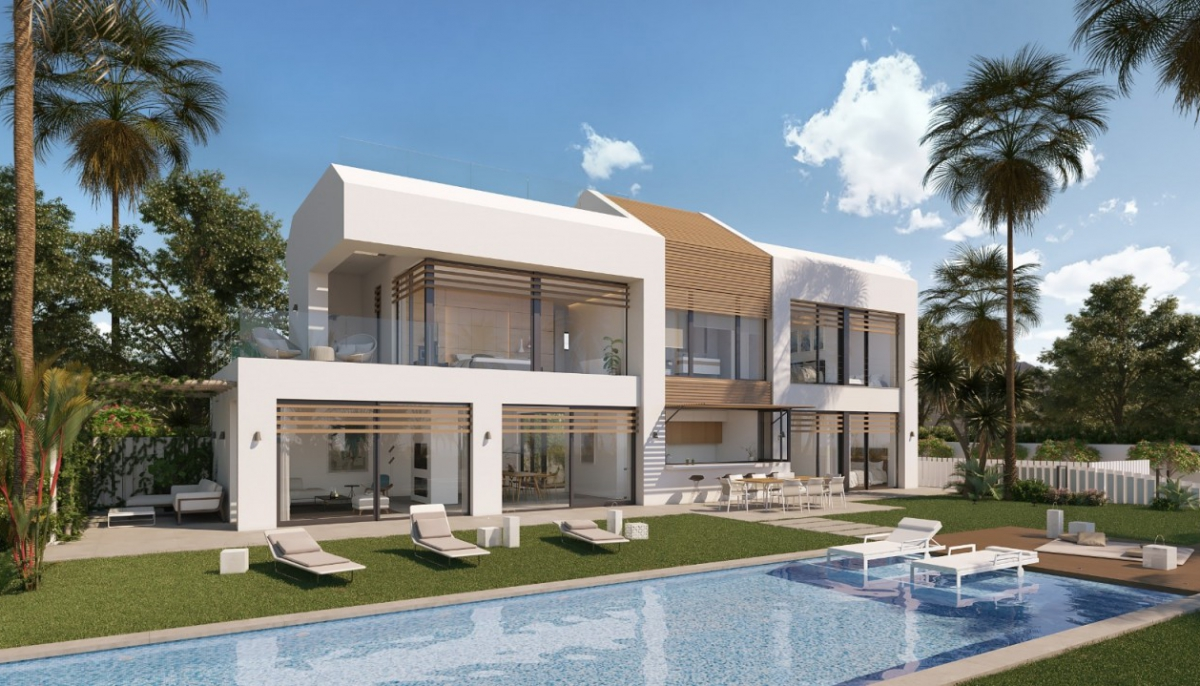 Contemporary beachfront designer villa with direct private access to the beach in the new golden mile