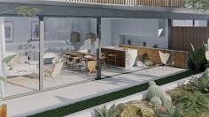 High tech groundfloor apartement with private garden for sale 100m from Talamanca beach