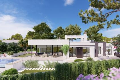 Sfeervolle moderne villa in aanbouw dicht bij het strand