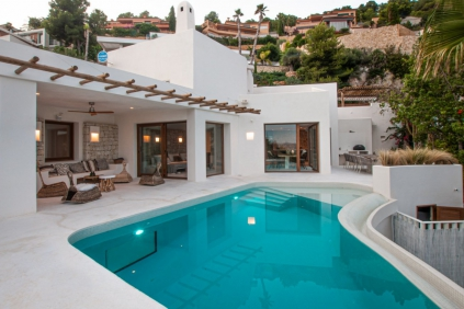 Stunnig Ibiza style villa with amazing sea views for sale close to the beach in Javea