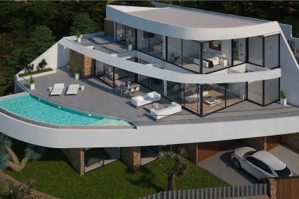 Ultra moderne design villa met schitterend zeezicht tussen Calpe en Altea