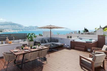 Luxe moderne vrijstaande villa's met zeezicht op loopafstand van het strand en faciliteiten