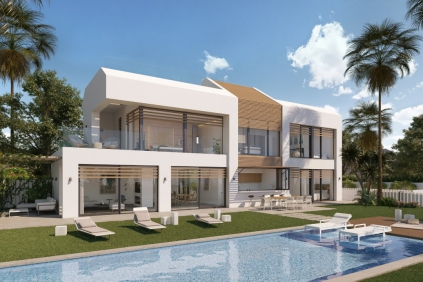 Contemporary beachfront designer villa with direct private access to the beach in the New Golden Mile.