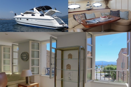 Unique opportunity: Beautiful apartment close to the marina for sale including luxury motor yacht!