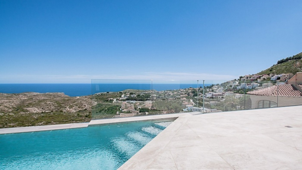 High quality contemporary villa next to nature reserve offering amazing sea views
