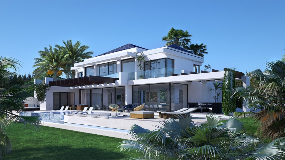 Superb modern new build villa close to Marbella overlooking the golfcourse and sea