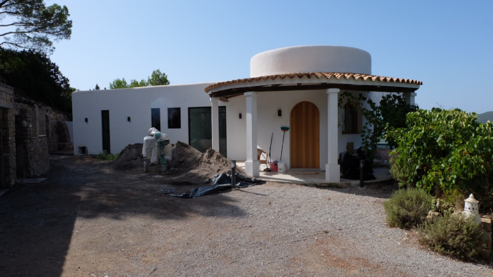 Beautiful modern Ibiza style villa with amazing sea views for sale in Es Cubells