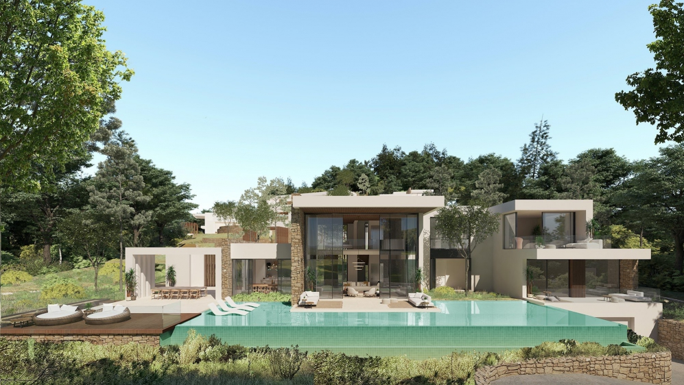 Luxury Ibiza villas within private and guarded estate overlooking the Roca Llisa Golf course